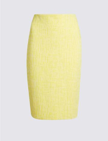 Marks & Spencer Cotton Rich Textured Jersey Pencil Skirt Yellow