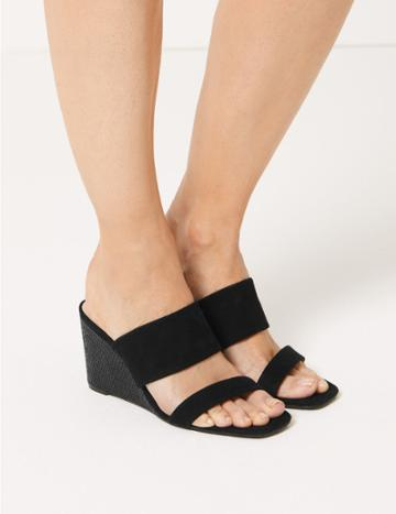 Marks & Spencer Wedge Heel Two Band Sandals Black Mix