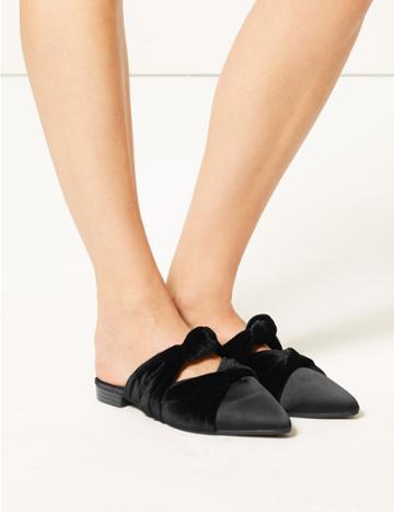 Marks & Spencer Velvet & Satin Knot Twist Mules Black