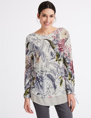 Marks & Spencer Embellished Front Floral Long Sleeve T-shirt Ivory Mix