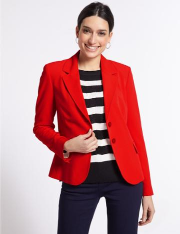 Marks & Spencer Single Breasted Blazer Red