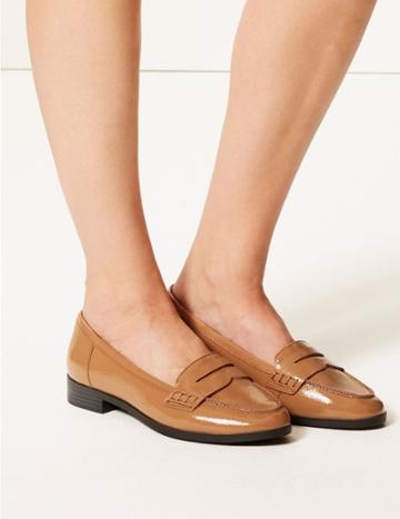 Marks & Spencer Wide Fit Leather Block Heel Loafers Nude