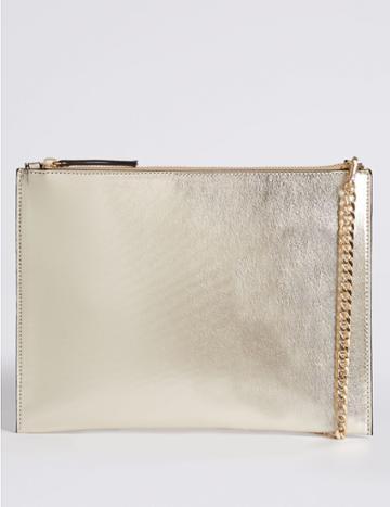 Marks & Spencer Faux Leather Chain Shoulder Bag Soft Gold