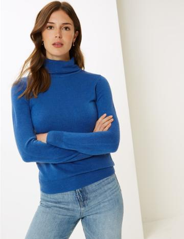 Marks & Spencer Roll Neck Jumper Azure Blue