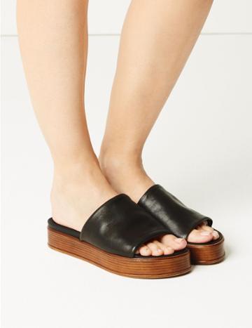 Marks & Spencer Leather Flatform Heel Mule Sandals Black