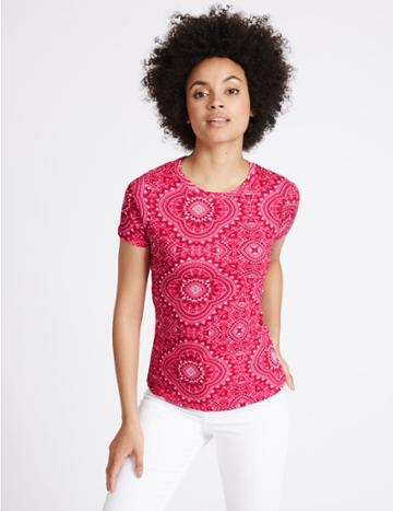 Marks & Spencer Pure Cotton Printed Short Sleeve T-shirt Pink Mix