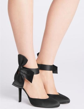 Marks & Spencer Stiletto Bow Satin Two Part Court Shoes Black