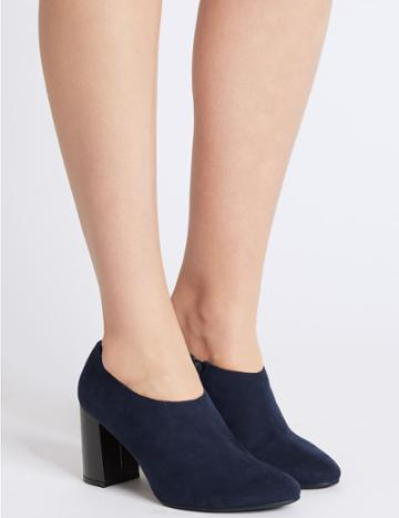 Marks & Spencer Block Heel Shoe Boots With Insolia® Navy