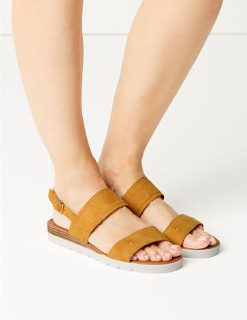Marks & Spencer Suede Two Band Sandals Yellow