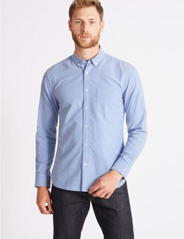 Marks & Spencer Pure Cotton Slim Fit Oxford Shirt With Pocket Blue