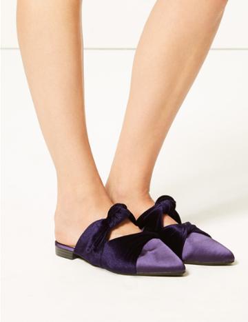 Marks & Spencer Velvet & Satin Knot Twist Mules Purple