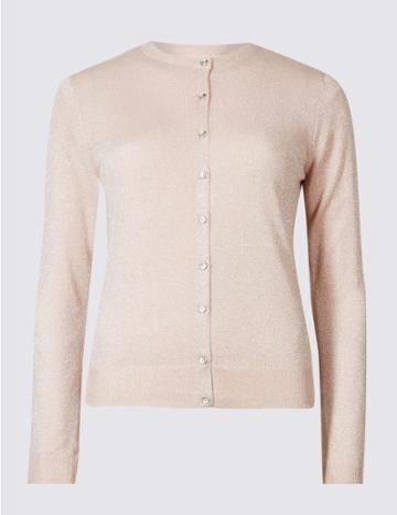 Marks & Spencer Sparkle Round Neck Cardigan Blush