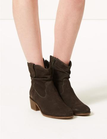 Marks & Spencer Suede Slouch Western Ankle Boots Grey
