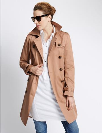 Marks & Spencer Pure Cotton Trench Coat With Stormwear™ Light Sand