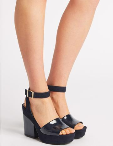Marks & Spencer Leather Block Heel Two Part Sandals Navy