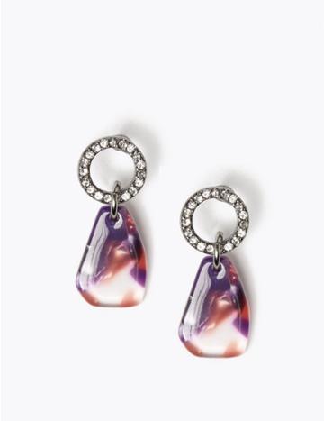 Marks & Spencer Resin Shard Drop Earrings Multi
