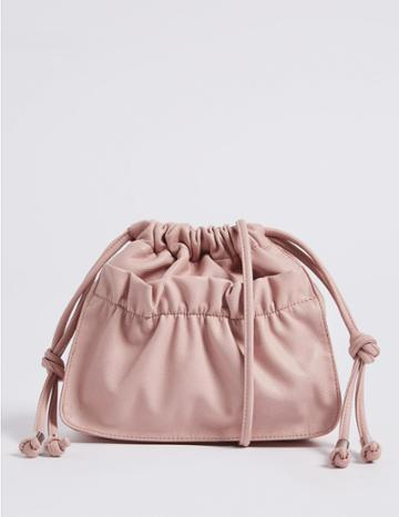Marks & Spencer Slouchy Duffle Cross Body Bag Pale Pink