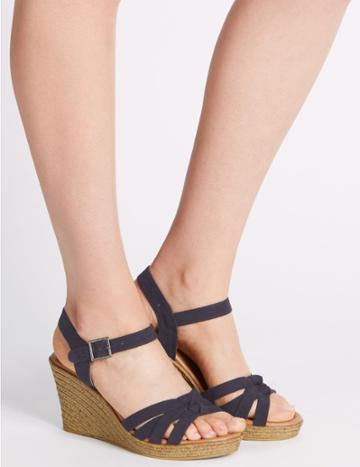 Marks & Spencer Wedge Heel Buckle Knot Crossover Sandals Navy