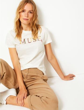 Marks & Spencer Cotton Rich Muse Slogan T-shirt White Mix