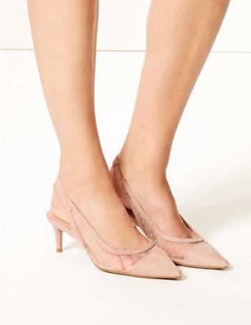 Marks & Spencer Spot Mesh Kitten Heel Slingback Court Shoes Blush