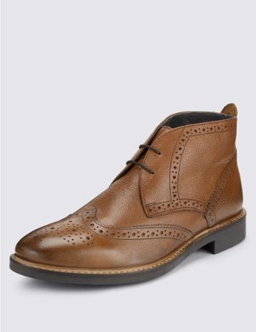 Marks & Spencer Leather Brogue Chukka Boots Tan