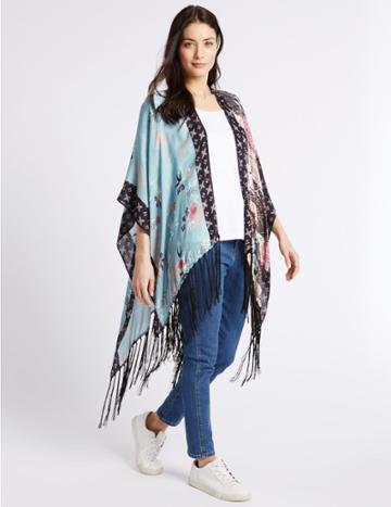 Marks & Spencer Pure Modal Patchwork Kimono Wrap Blue Mix