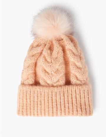 Marks & Spencer Cable Knit Pom-pom Beanie Blush