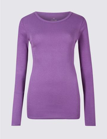 Marks & Spencer Pure Cotton Round Neck Long Sleeve T-shirt Amethyst