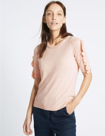 Marks & Spencer Ruffle Sleeve Round Neck Jumper Blush Pink