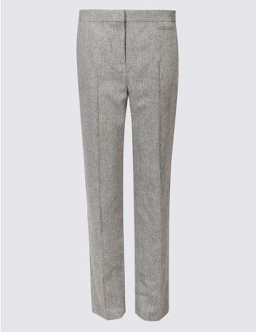 Marks & Spencer Printed Straight Leg Trousers Metallic