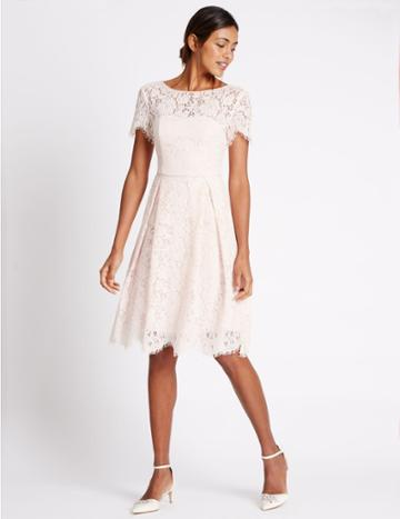 Marks & Spencer Cotton Blend Lace Swing Dress Blush Pink