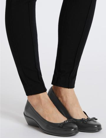 Marks & Spencer Wide Fit Leather Wedge Heel Pump Shoes Black