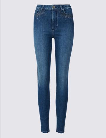 Marks & Spencer Embellished Roma Rise Skinny Jeans Medium Blue