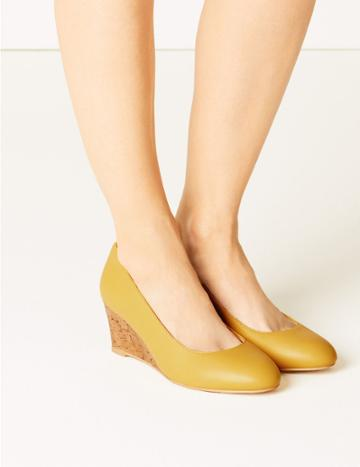 Marks & Spencer Leather Wide Fit Wedge Heel Court Shoes Ochre