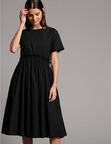 Marks & Spencer Pure Cotton Drawcord Swing Dress Black