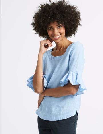 Marks & Spencer Pure Linen Ruffle Sleeve Blouse Chambray