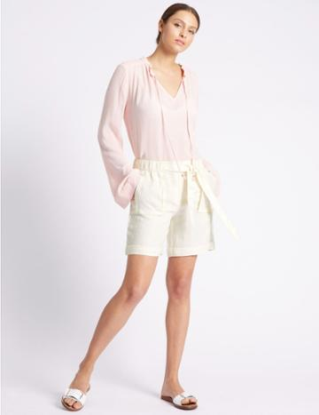 Marks & Spencer Pure Linen Tie Waist Shorts Cream