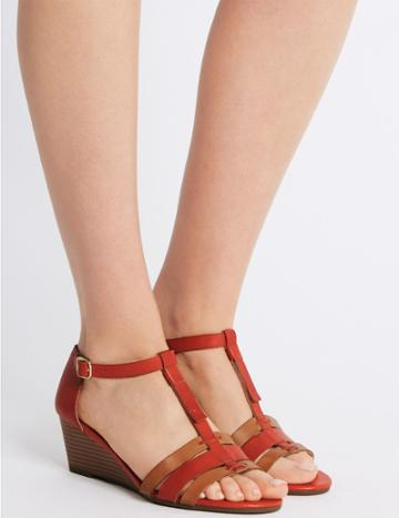 Marks & Spencer Wide Fit Leather Wedge Sandals Flame