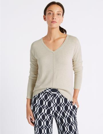 Marks & Spencer Textured V-neck Jumper With Linen Natural Mix