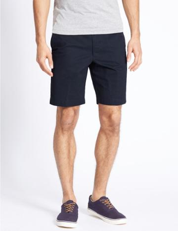 Marks & Spencer Pure Cotton Shorts With Adjustable Waist Navy