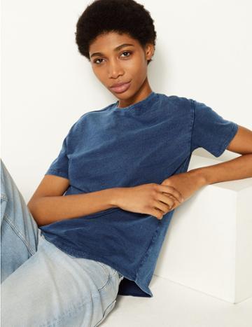 Marks & Spencer Vintage Wash Pure Cotton T-shirt Indigo