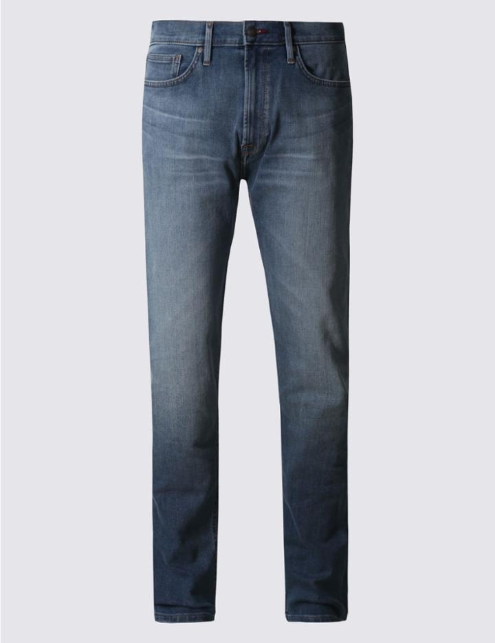 Marks & Spencer Tapered Fit Stretch Jeans Medium Blue