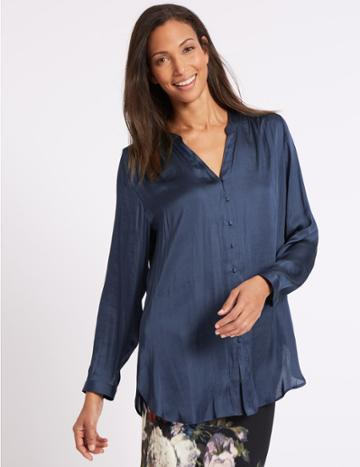 Marks & Spencer Round Neck Long Sleeve Blouse Navy