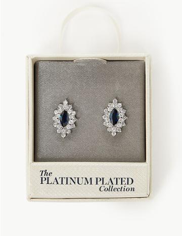 Marks & Spencer Platinum Plated Skin Kind™ Oval Studs Blue Mix