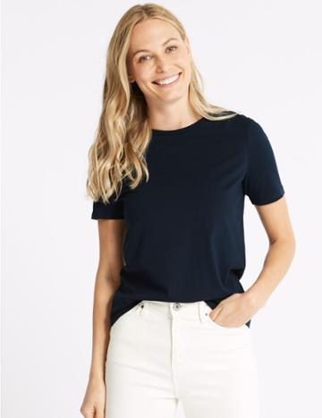 Marks & Spencer Pure Supima Cotton Short Sleeve T-shirt Navy