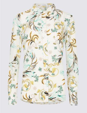 Marks & Spencer Floral Print Crepe Long Sleeve Shirt Cream Mix