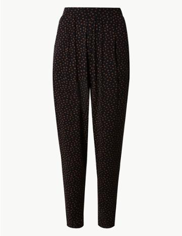Marks & Spencer Tapered Leg Jersey Ankle Grazer Peg Trousers Black Mix