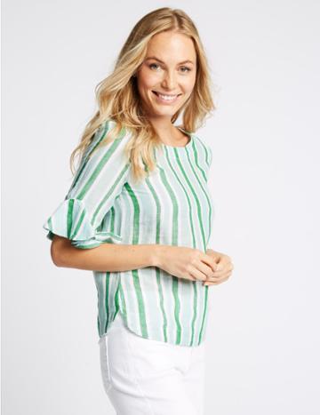 Marks & Spencer Linen Rich Striped Ruffle Sleeve Blouse Green Mix