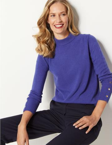Marks & Spencer Textured Turtle Neck Jumper Indigo