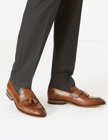 Marks & Spencer Leather Saddle Tassel Loafers Brown